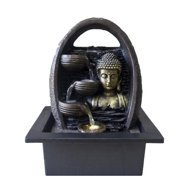 Zen' Light - Fontaine d'Intérieur Déco Feng Shui Bouddha Essan Eclairage Led