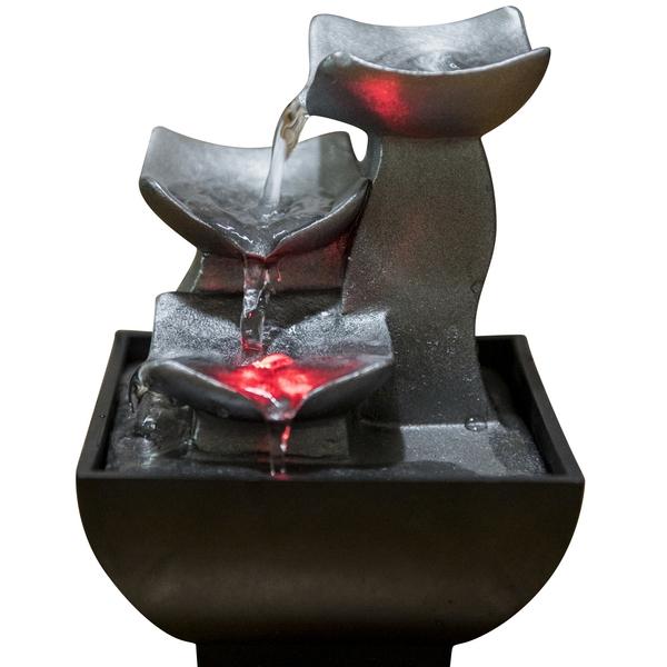Zen' Light - Fontaine d'Intérieur Déco Zen Relaxante Boro avec Eclairage Led