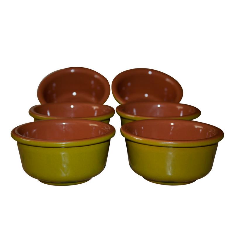 Esprit Cuistot - Set 6 ramequins en céramique vert nature