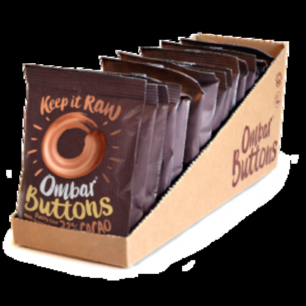Ombar - Lot de 13+2 Buttons Chocolat Cru 72% Cacao 25g Bio