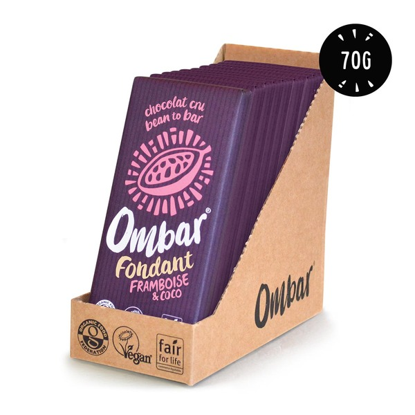 Ombar - Lot de 9+1Chocolat Cru Fondant Framboise-Coco 70g Bio