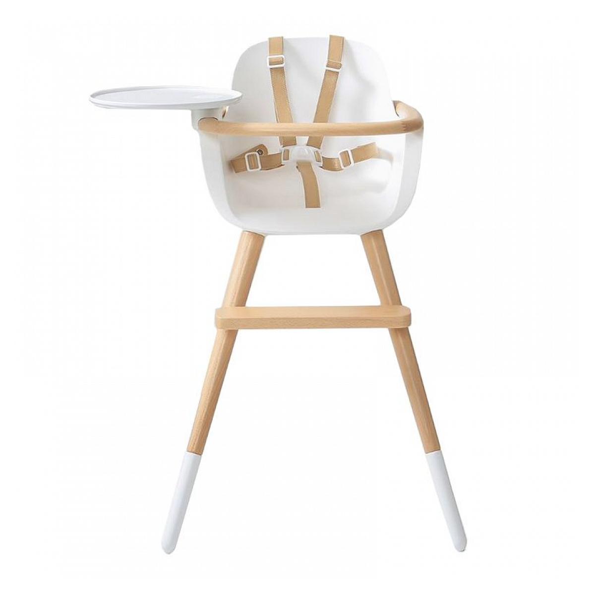 Micuna - Chaise haute blanche et similicuir beige Ovo Original