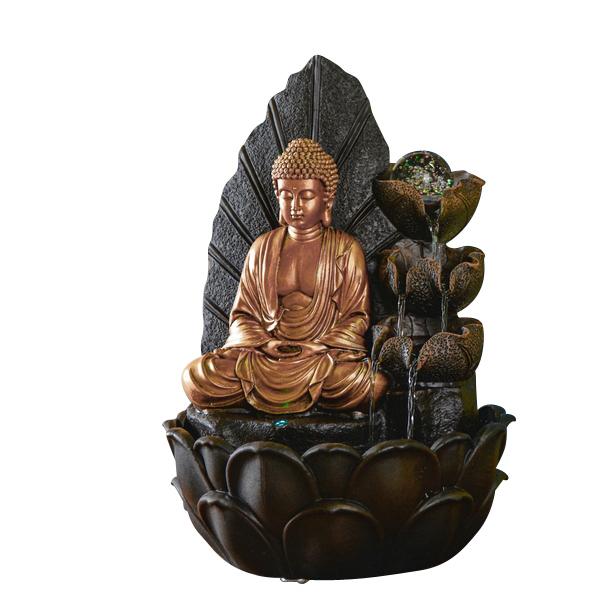 Zen' Light - Fontaine d'Intérieur Bouddha Hartha avec Eclairage Led