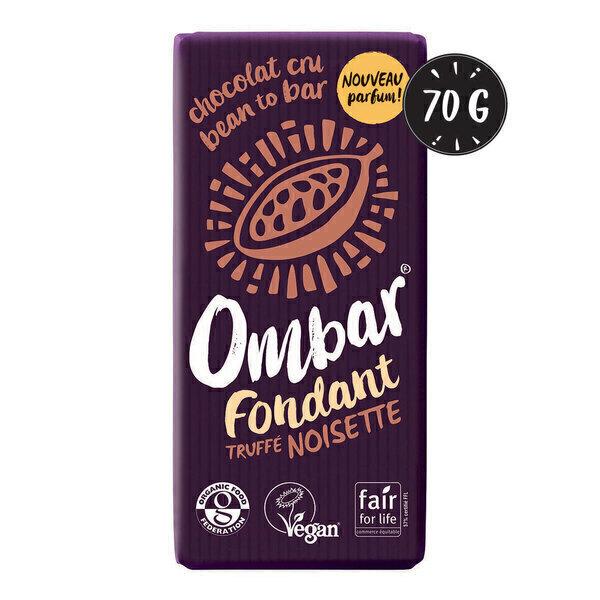 Ombar - Chocolat Noir au coeur truffé Noisette 70g Bio