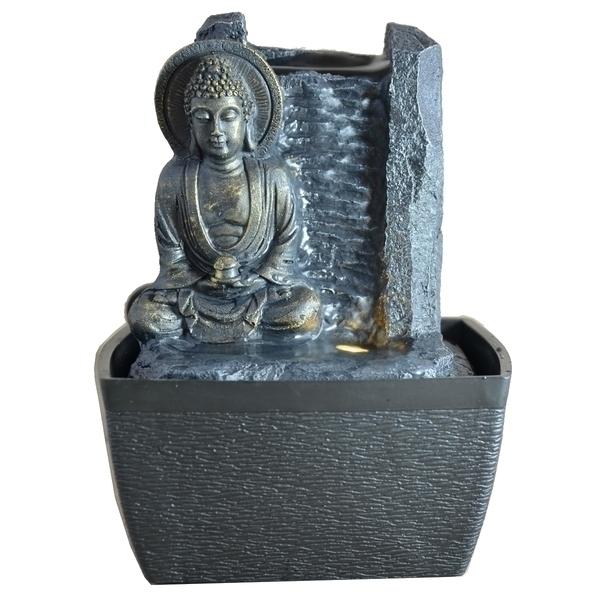 Zen' Light - Fontaine d'Intérieur Déco Bouddha Sérénité avec Eclairage Led