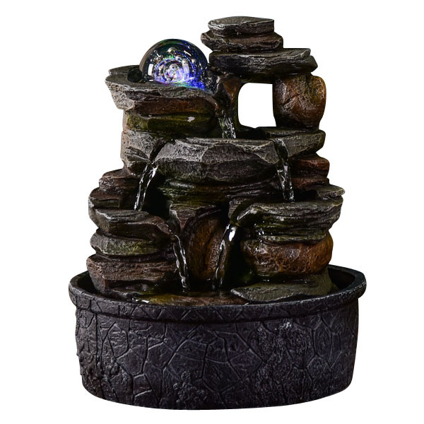 Zen' Light - Fontaine d'Intérieur Cascade Satya avec Eclairage Led