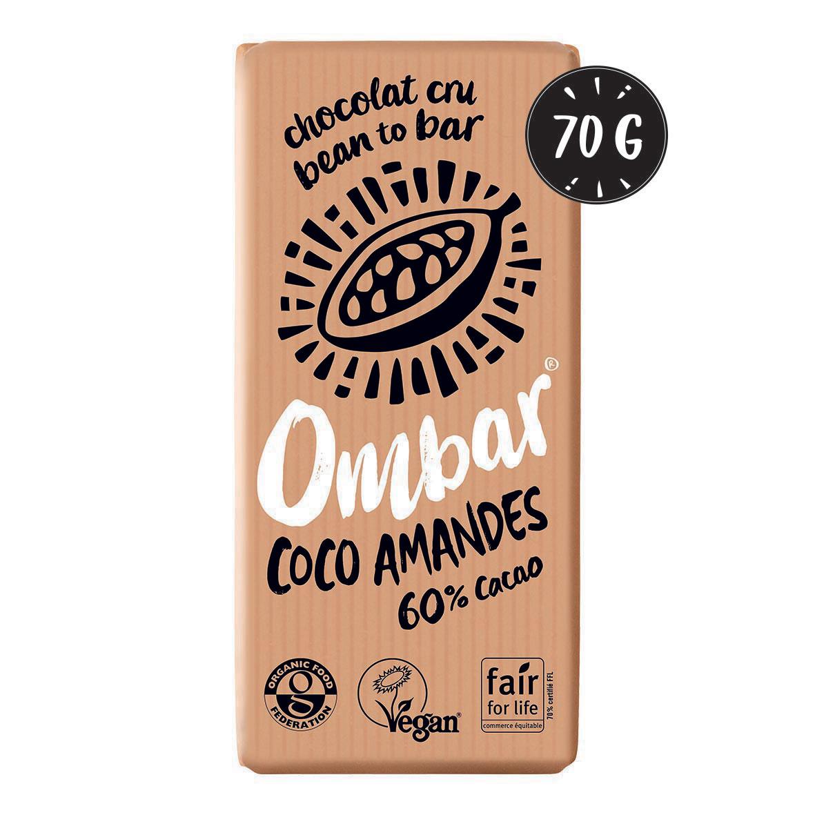 Ombar - Chocolat Cru Coco - Eclats d'Amandes 70g Bio