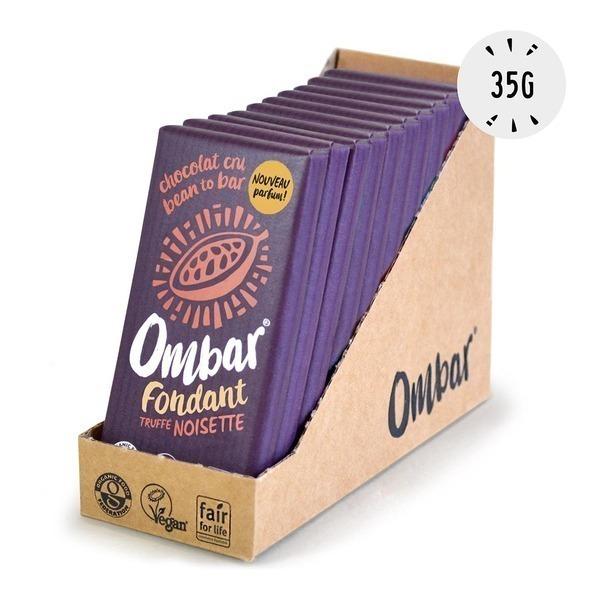 Ombar - Lot de 9+1Chocolat Noir au coeur truffé Noisette 35g Bio