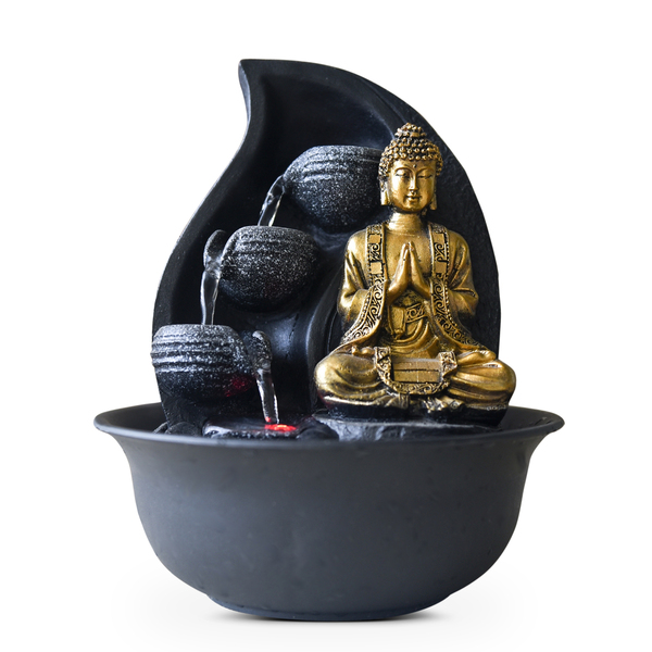 Zen' Light - Fontaine d'Intérieur Déco Bouddha Praya avec Eclairage Led