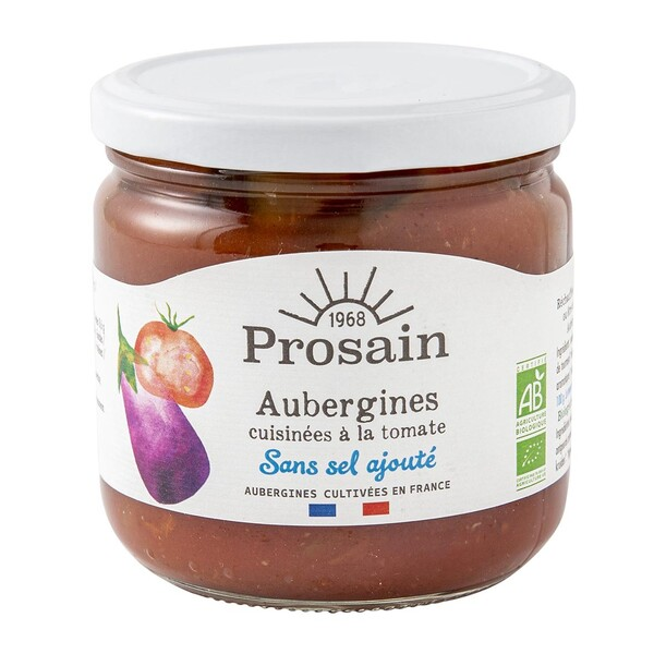 ProSain - Aubergines à la tomate sans sel ajouté 38,8cl bio