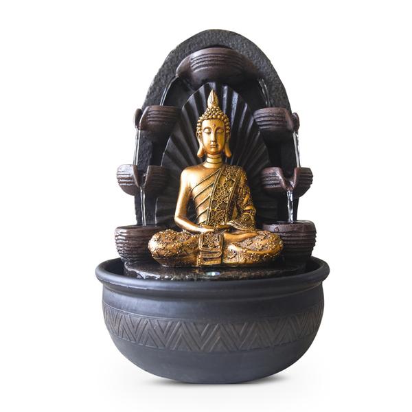 Zen' Light - Fontaine d'Intérieur Déco Feng Shui Bouddha Chakra Eclairage Led