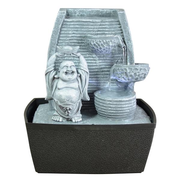 Zen' Light - Fontaine d'Intérieur Déco Bouddha Rieur avec Eclairage Led