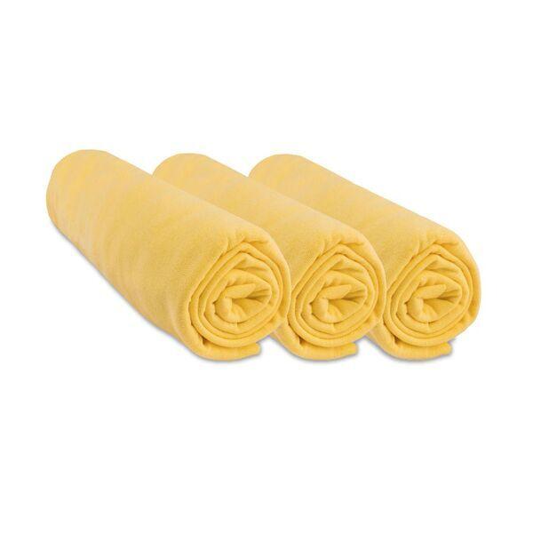 Easy Dort - Lot de 3 Draps housse Jersey 100% Coton - 50x100 cm - Jaune