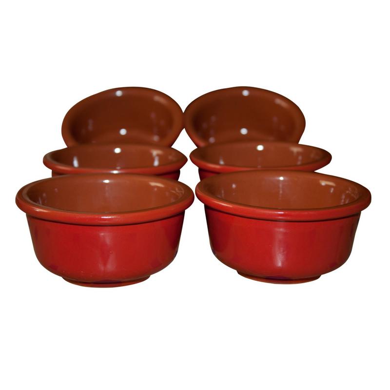 Esprit Cuistot - Set 6 ramequins céramique rouge nature