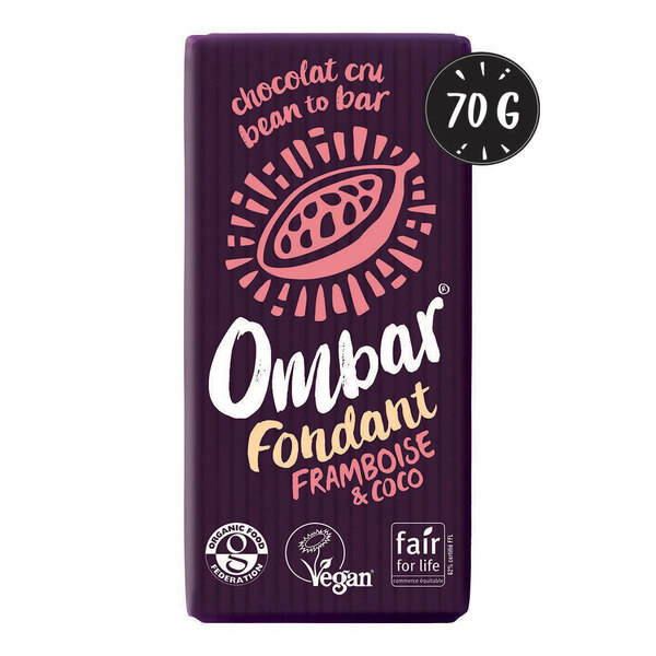 Ombar - Chocolat Cru Fondant Framboise-Coco 70g Bio