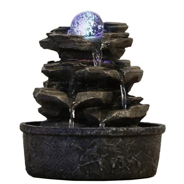 Zen' Light - Fontaine d'Intérieur Déco Nature Little Rock avec Eclairage Led