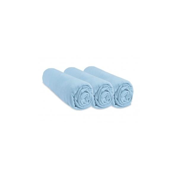 Easy Dort - Lot de 3 Draps housse Jersey 100% Coton - 50x100 cm - Bleu ciel