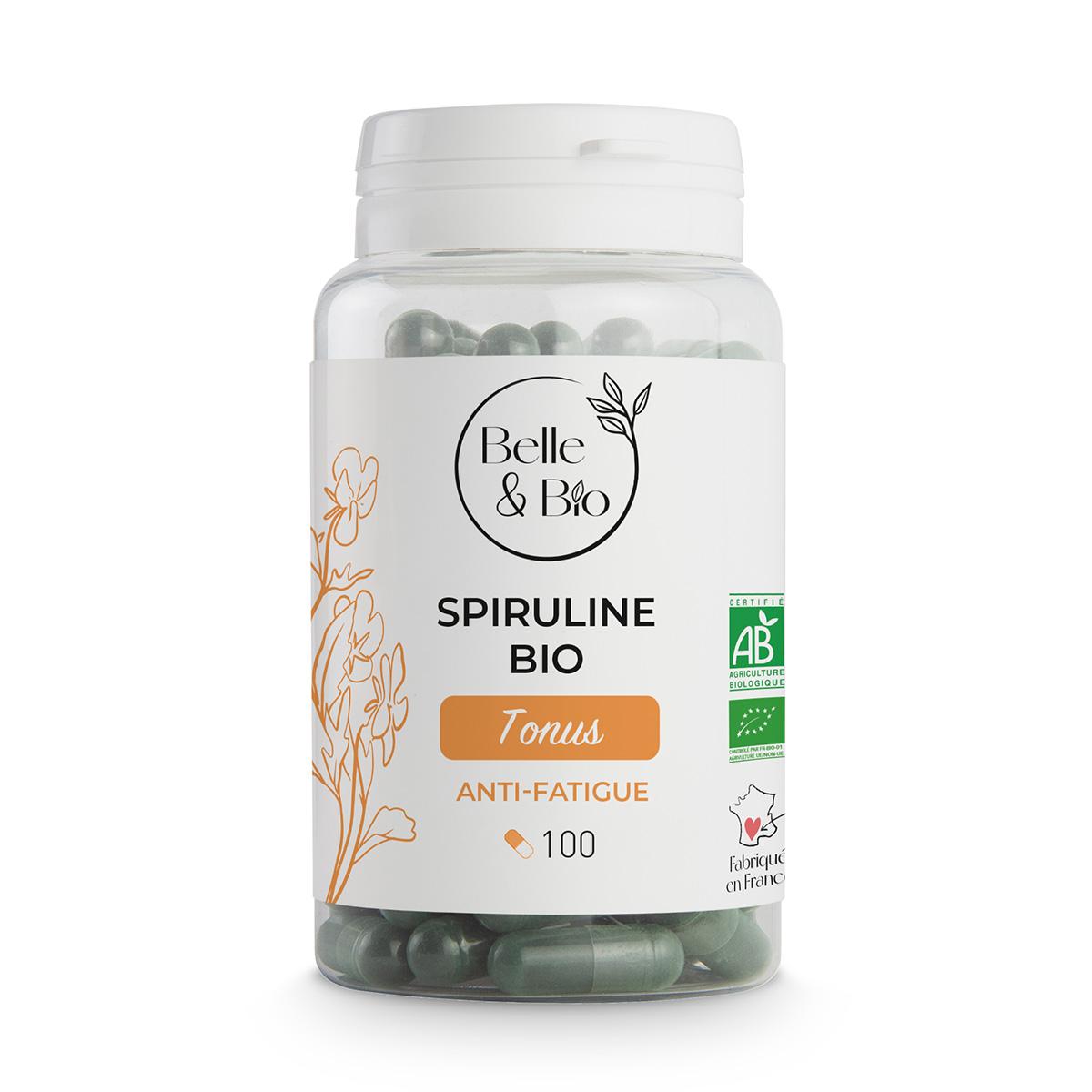 Belle & Bio - Spiruline Bio - Tonus - 100 Gélules - Certifié AB par Ecocert