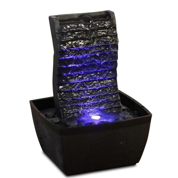 Zen' Light - Fontaine d'Intérieur Mur d'Eau Ondulo avec Eclairage Led