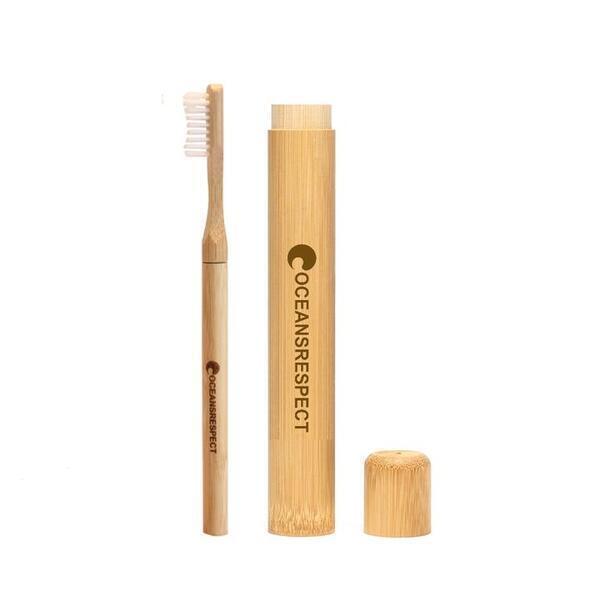 Oceansrespect - Brosse à dents à tête interchangeable + étui de voyage en bambou