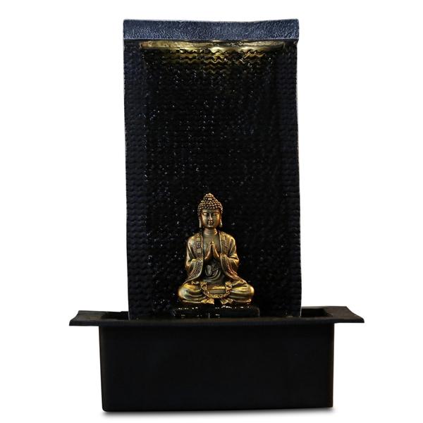Zen' Light - Fontaine d'Intérieur Déco Bouddha Zenitude avec Eclairage Led