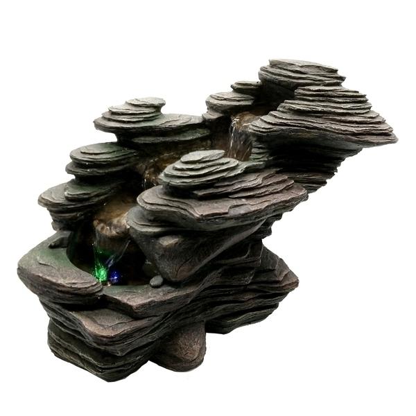 Zen' Light - Fontaine d'Intérieur Déco Nature River avec Eclairage Led