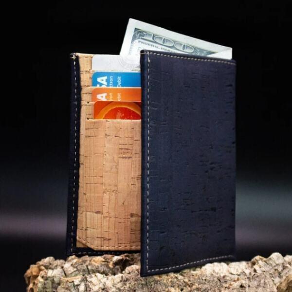 """OAK Forest - Portefeuille en liège naturel """"Pocket"""" Bleu"""