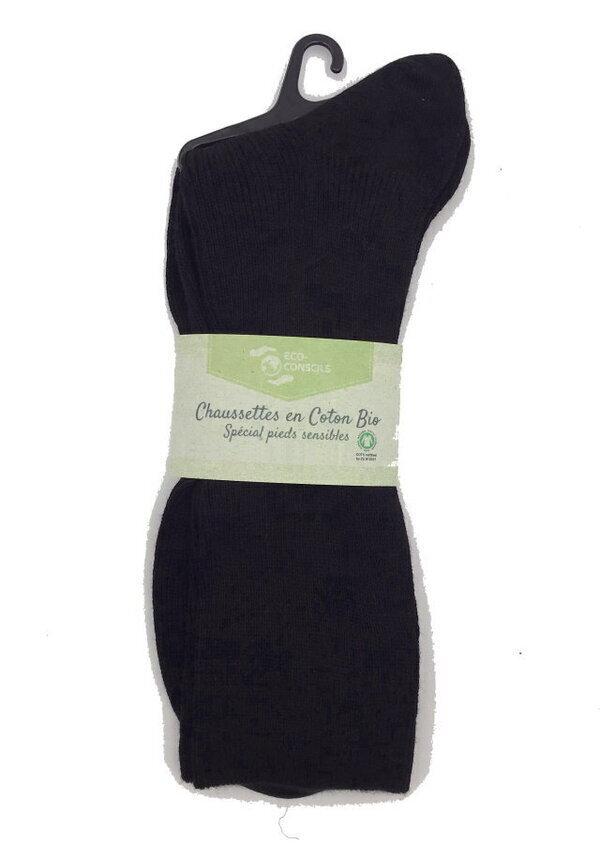 Éco-conseils - Chaussettes bio - 45/46 - noir