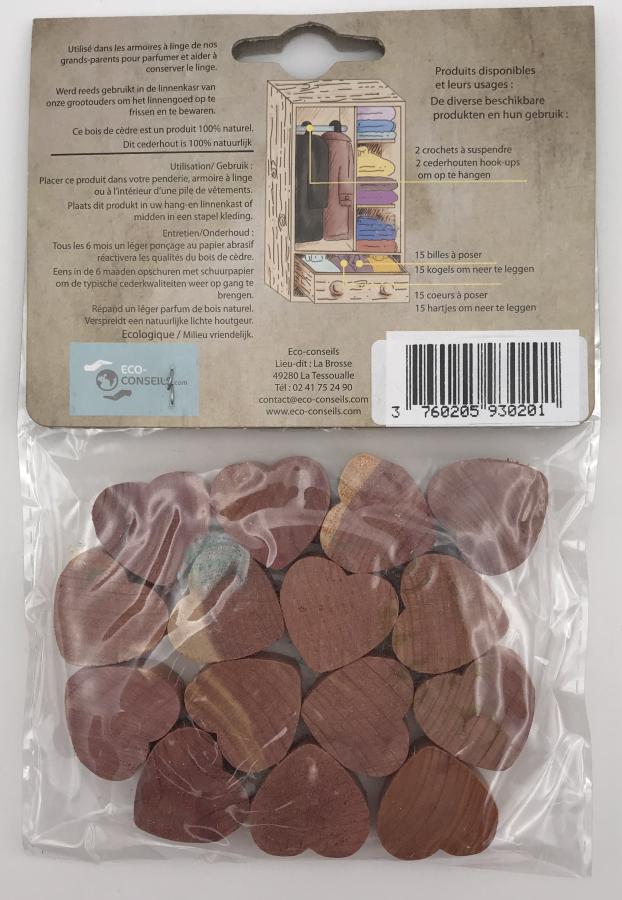 Éco-conseils - Répulsifs en Cèdre - 15 cœurs