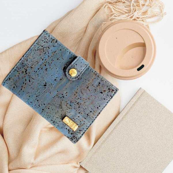 Karmyliege - Porte-monnaie en liège bleu pour femme, Zoé