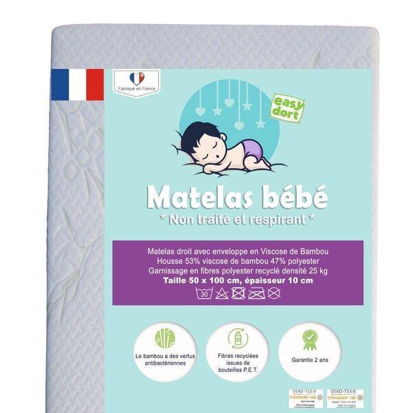 Easy Dort - Matelas bébé en Bambou pour lit 50x100 cm