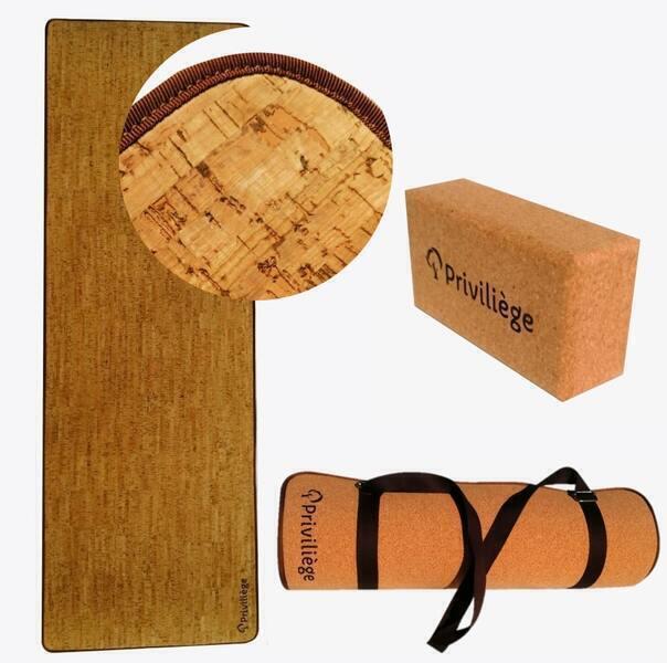 Priviliège - Pack tapis yoga asana + brique + sangle