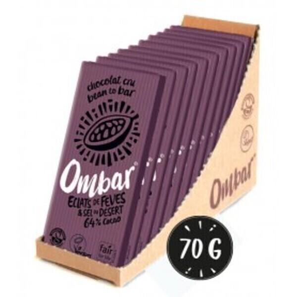 Ombar - Lot de 9+1 Chocolats Crus éclats de fève de cacao 70g Bio