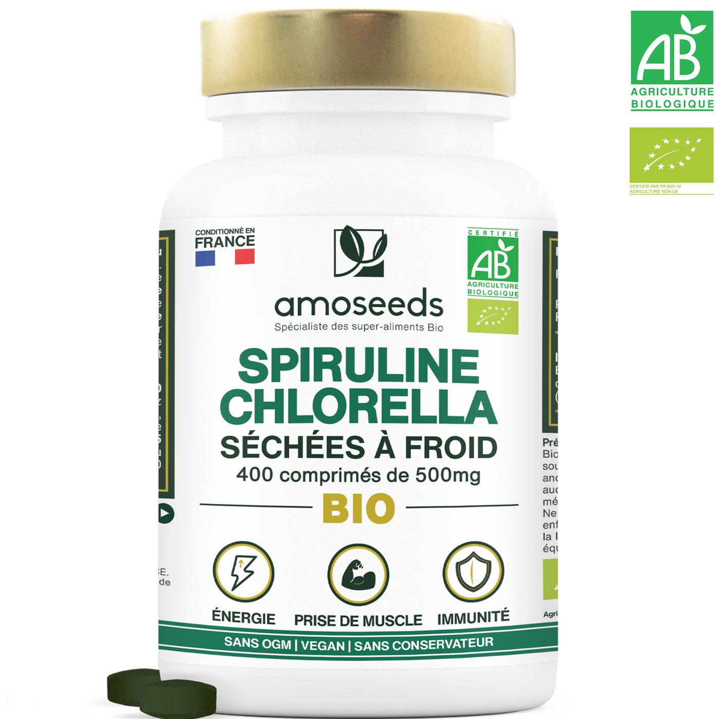 amoseeds - Mix Spiruline/Chlorella Bio 500 comprimés