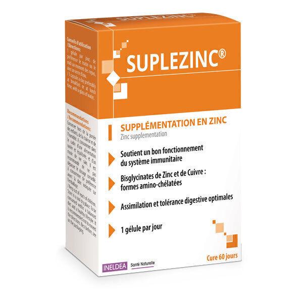 Ineldea Santé naturelle - Suplezinc Supplémentation en Zinc 60 gélules