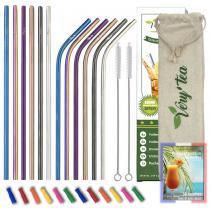 VeryTea - 12 Pailles Multicolores reutilisables + Embouts Silicone + Ebook