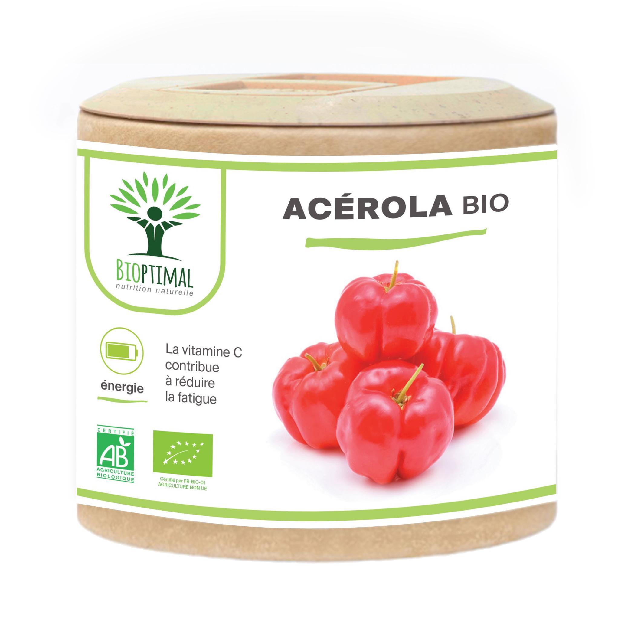 Bioptimal - Acerola Bio - Complement Alimentaire - Vitamine C - 60 gelules