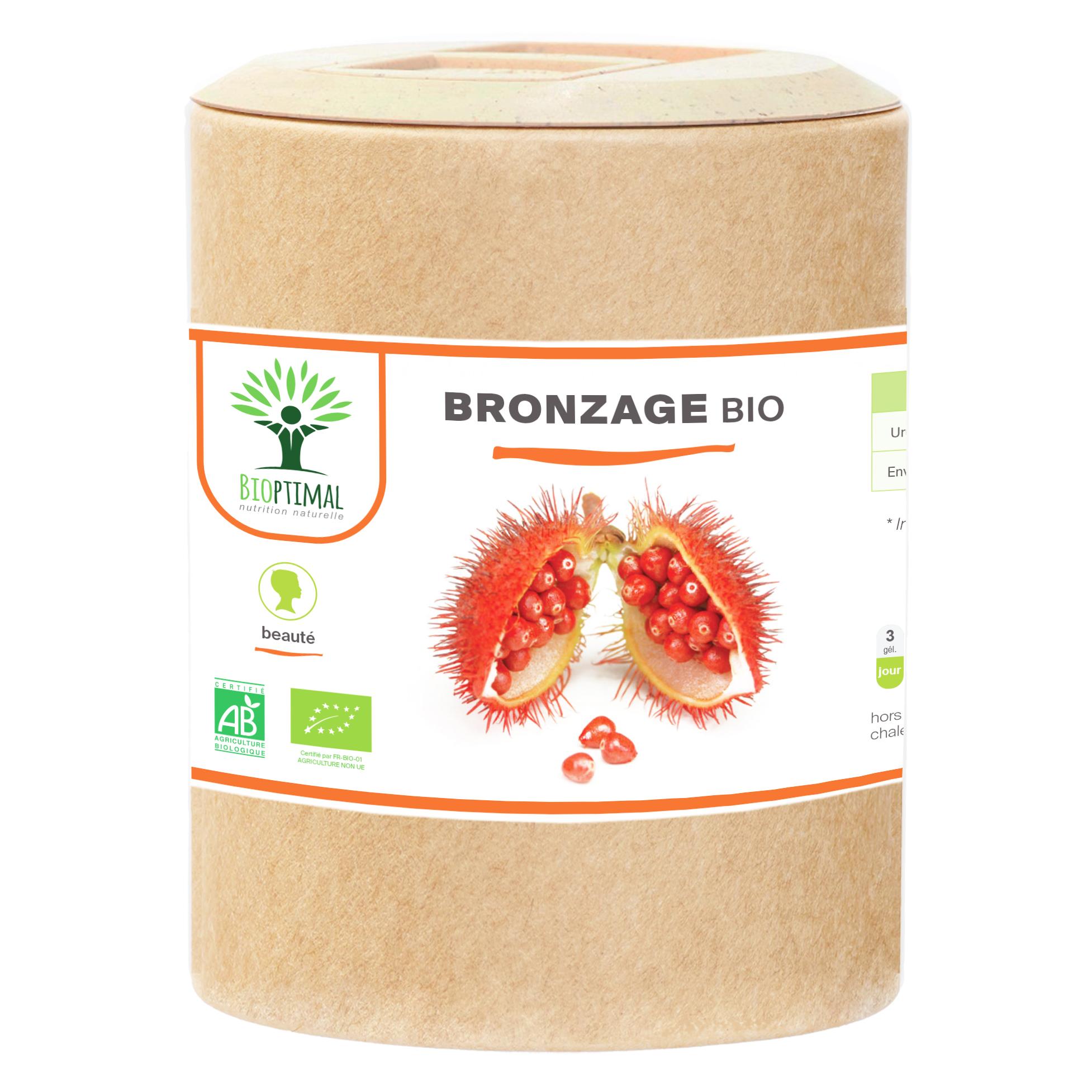 Bioptimal - Bronzage bio - Complement alimentaire Urucum Soleil- 200 gelules