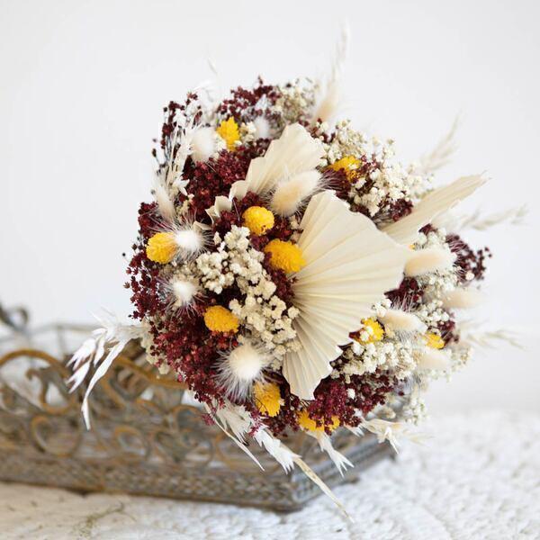 Réconciliation Végétale - Bouquet de fleurs sechees a base de palmes blanches