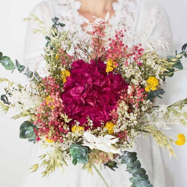 Réconciliation Végétale - Bouquet de fleurs sechees a base d'hortensia rose