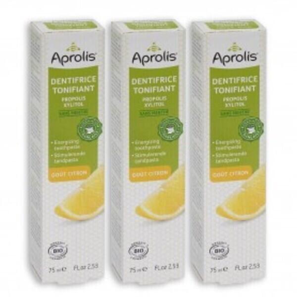Aprolis - Lot de 3 Dentifrices Tonifiant gout Citron 75ml Bio