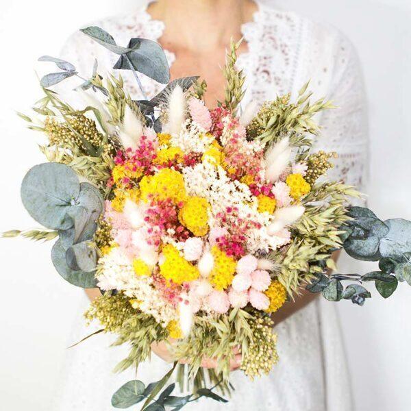 Réconciliation Végétale - Bouquet de fleurs sechees a base de phalaris rose