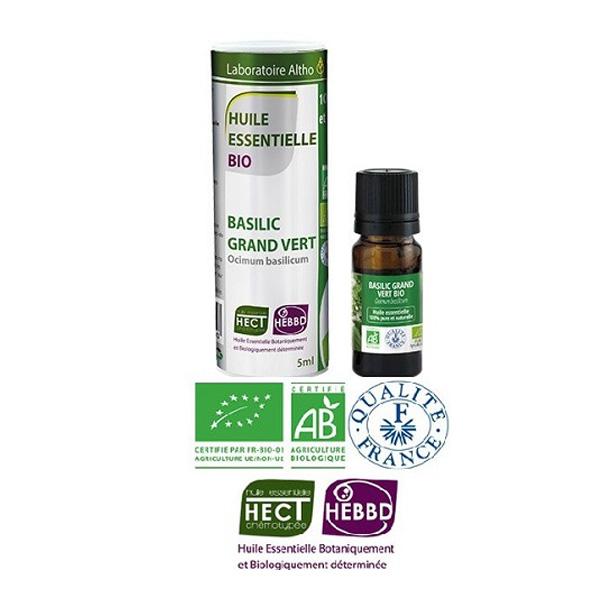 Laboratoire Altho - Basilic Grand Vert Bio Huile Essentielle Bio Chemotypee - 5ml