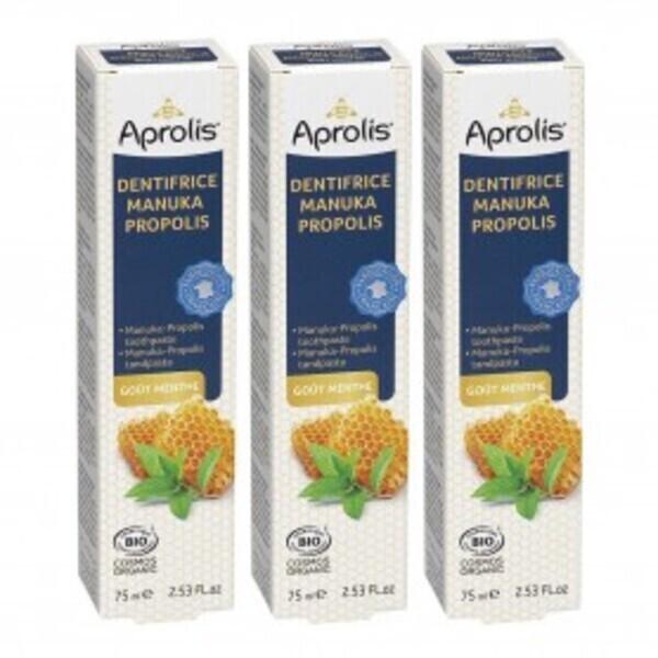 Aprolis - Lot de 3 Dentifrices Manuka-Propolis gout menthe 75ml Bio