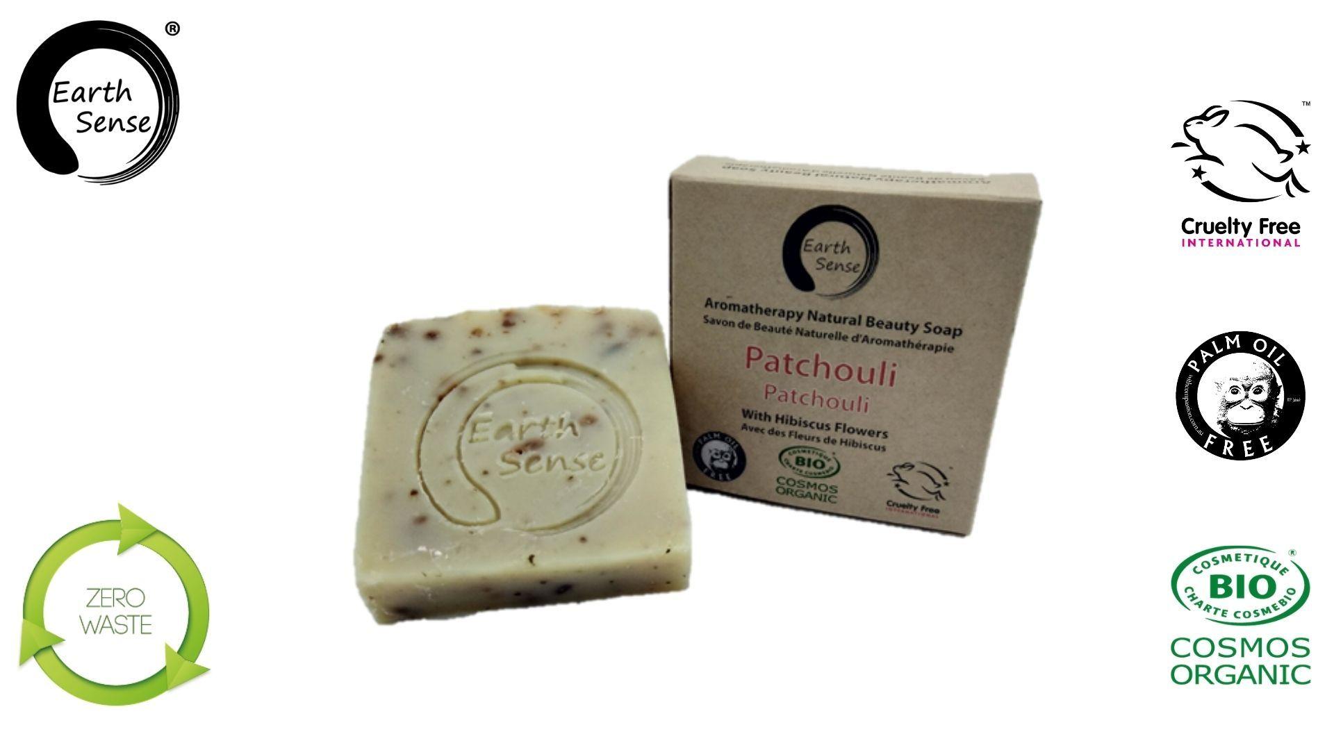 Earth sense organics - Savon Solide bio Patchouli aux Fleurs d'Hibiscus - 100g