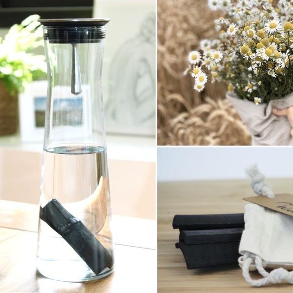 Weetulip - Coffret carafe eau filtrante en verre 1L avec charbon de bambou