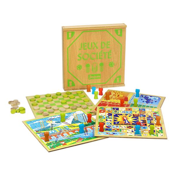 Jeujura - Coffret de jeux de société avec plateaux en bois - Dès 3 ans