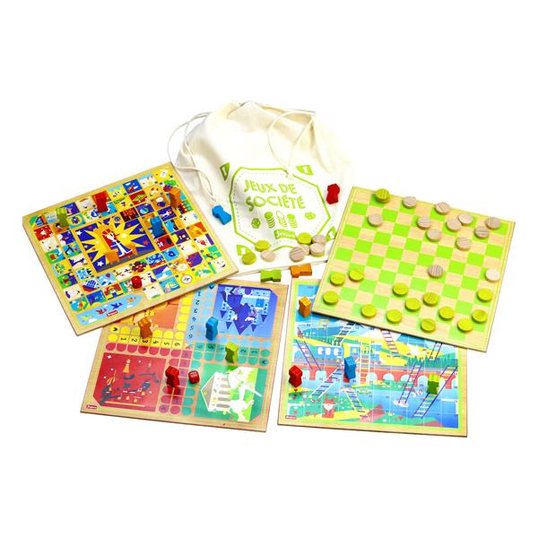 Jeujura - Ensemble jeux de société avec sac de rangement - Dès 3 ans