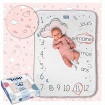 SNAP THE MOMENT - Couverture étape bébé 100% coton Dusty pink