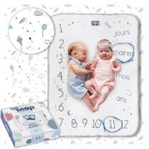 SNAP THE MOMENT - Couverture étape bébé 100% coton Minty white